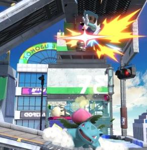 Ivysaur attacking Luigi Pokemon Trainer super Smash Bros ultimate Nintendo Switch
