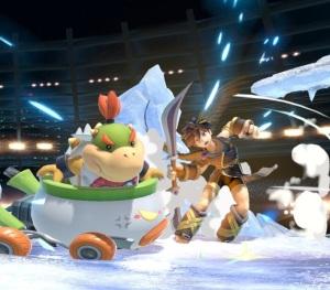 Bowser Jr running over dark pit Pokemon Stadium 2 stage super Smash Bros ultimate Nintendo Switch