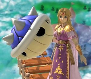 Princess Zelda holding Blue shell super Smash Bros ultimate Nintendo Switch Mario Kart