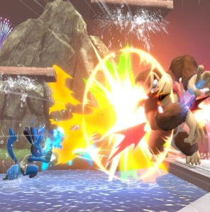 Donkey Kong hit by Soccer ball super Smash Bros ultimate Nintendo Switch