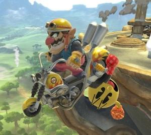 Wario uses motorcycle to run ovover Pac-Man Super Smash Bros ultimate Nintendo Switch