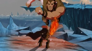 Thor using fire sword om Frost giant Thor: Tales of Asgard