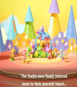 Yoshis happy with dream gems Yoshi's Crafted World Nintendo Switch