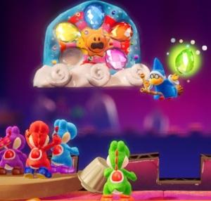 Kamek stealing dream gems Yoshi's Crafted World Nintendo Switch