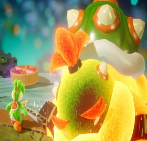 Mega Baby Bowser defeated Yoshi's Crafted World Nintendo Switch