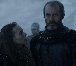 Stannis Baratheon watches burning of Shireen game of Thrones HBO