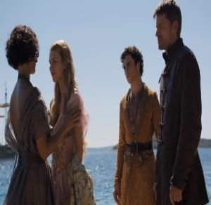 Myrcella Baratheon kissed by Ellaria Sand game of Thrones HBO