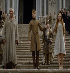 King Tommen Baratheon and the high sparrow game of Thrones HBO