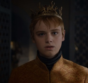 King Tommen Baratheon with crown game of Thrones HBO