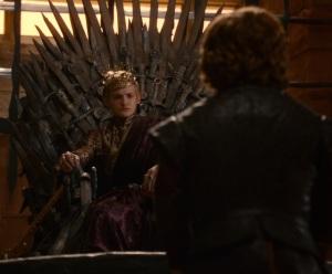 King Joffrey Baratheon sitting on the Iron Throne game of thrones HBO
