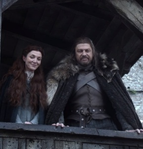 Catelyn Stark and Ned Stark Winterfell game of Thrones HBO