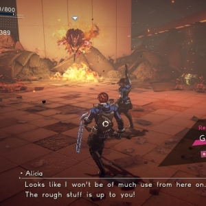 Alicia shooting at Deimos astral chain Nintendo Switch