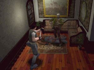 Resident Evil 1 PS1 Chris Redfield vs first zombie