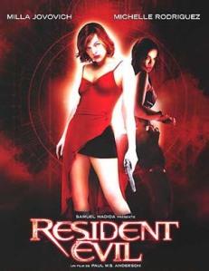 Resident Evil movie poster milla Jovovich Michelle Rodriguez