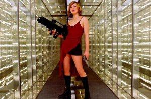 Milla Jovovich red dress resident evil original movie