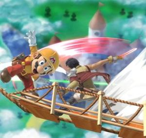 Chrom hitting Mario with sword super Smash Bros ultimate Nintendo Switch fire Emblem
