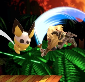 Chrom hitting Pichu with sword super Smash Bros ultimate Nintendo Switch fire Emblem