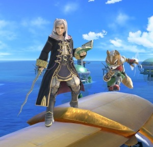 Fox sneaking up behind Robin Big Blue Stage super Smash Bros ultimate Nintendo Switch F-Zero