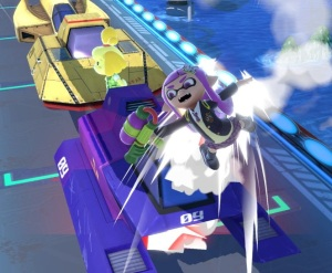 Inkling hit by car Big Blue Stage super Smash Bros ultimate Nintendo Switch F-Zero