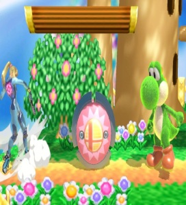 Zero suit Samus and Yoshi separated by bumper item super Smash Bros ultimate Nintendo Switch