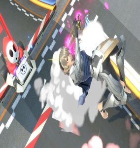 Corrin hit by shyguy cart Figure-8 Circuit Stage super Smash Bros ultimate Nintendo Switch