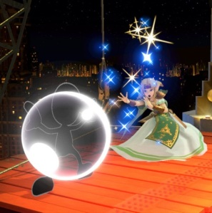 Princess Zelda using magic against mr game and Watch Fourside Stage super Smash Bros ultimate Nintendo Switch