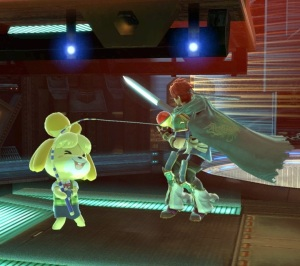 Isabelle using fishing rod against roy Frigate Orpheon Stage super Smash Bros ultimate Nintendo Switch Metroid