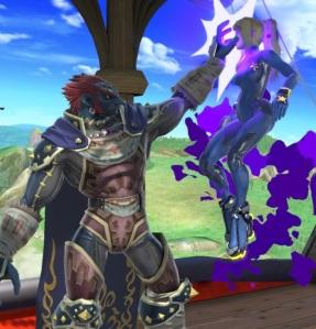 Ganondorf holding zero suit Samus by her head Super Smash Bros ultimate Nintendo Switch