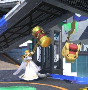 Princess Zelda using Golden Hammer super Smash Bros ultimate Nintendo Switch