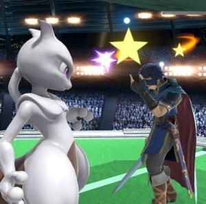 Mewtwo using confuse Ray on Marth super Smash Bros ultimate Nintendo Switch Pokémon