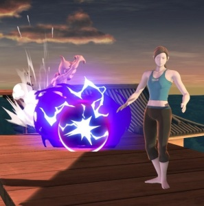 Mewtwo shooting energy ball at Wii Fit trainer super Smash Bros ultimate Nintendo Switch Pokémon