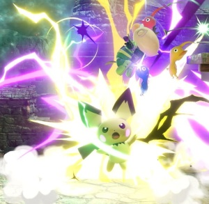 Pichu hits captain olimar with electricity Super Smash Bros ultimate Nintendo Switch