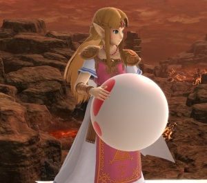 Princess Zelda holding Pitfall item super Smash Bros ultimate Nintendo Switch animal crossing