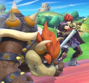 Roy using counter against Bowser Super Smash Bros ultimate Nintendo Switch fire Emblem