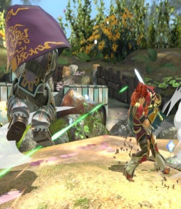 Roy fighting Ganondorf Super Smash Bros ultimate Nintendo Switch fire Emblem