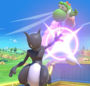 Mewtwo throwing Yoshi super Smash Bros ultimate Nintendo Switch Pokémon