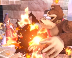 Donkey Kong hit by Steel Diver item Super Smash Bros ultimate Nintendo Switch