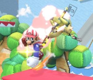 Mario punches Zero Suit Samus Yoshi's Story Stage super Smash Bros ultimate Nintendo Switch