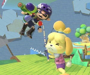 Isabelle grabbing inkling with fishing rod Yoshi's Story Stage super Smash Bros ultimate Nintendo Switch