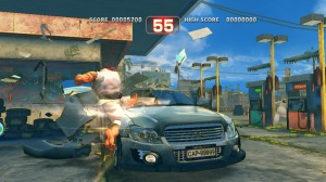 Ryu attacking car Super Street Fighter IV